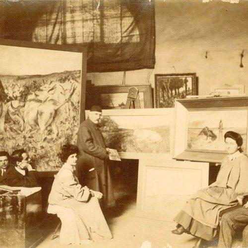 <em>Giovanni Fattori nel suo studio</em>...