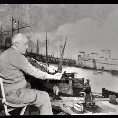 Renato Natali dipinge il porto di Livorno