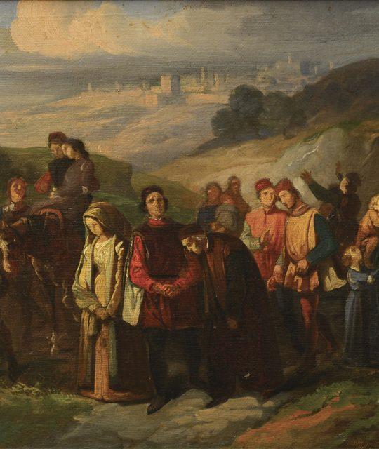 <p>Il bozzetto de<em>Gli esuli di Siena</em>, il dipinto da cui parte la storia del Museo</p>