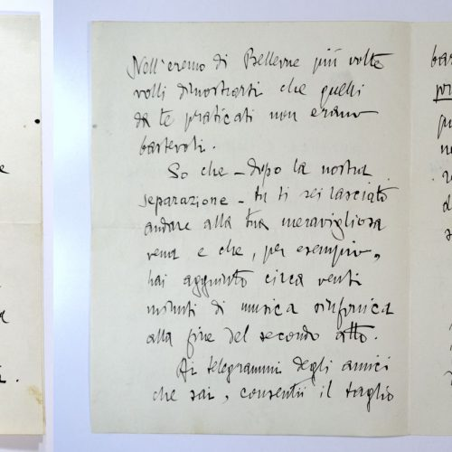 Lettera di Gabriele d'Annunzio a Pietro Mascagni