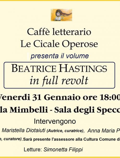 "Presentazione del volume: ""Beatrice Hastings – in full revolt"""